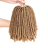 XCCOCO 3 Pack Spring Twist African Collection Corchet Braiding Hair Bomb Twist Curly Braids for Black Women Synthetic Fluffy Hair Extension Blonde 27# Color 8inch