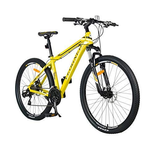 YEOGNED 27.5 Aluminum Frame MTB Dual Suspension Mountain Bike with Disc Brake,24 Speed Men and Women Yellow Bike (Yellow)