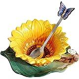 Taza de té de cerámica con platillo a juego, diseño de girasol, porcelana esmaltada, taza de café de cerámica, decoración del hogar, cuchara de mariposa de porcelana