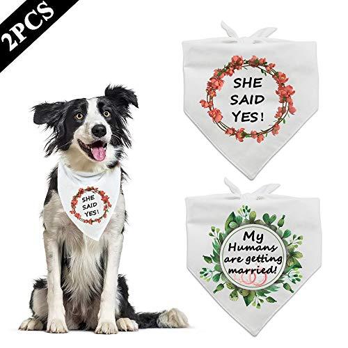 ASOCEA mijn mensen krijgen getrouwd hond Bandana ze zei ja driehoek slabbetjes verloving aankondiging huisdier wit bruiloft sjaal accessoires voor puppy doggie Kitty kleine middelgrote grote honden katten