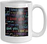 Taza de café, taza de té Home Ti Amo Carácter San Valentín fondo letras luminosas multicolor frases color negro 110z
