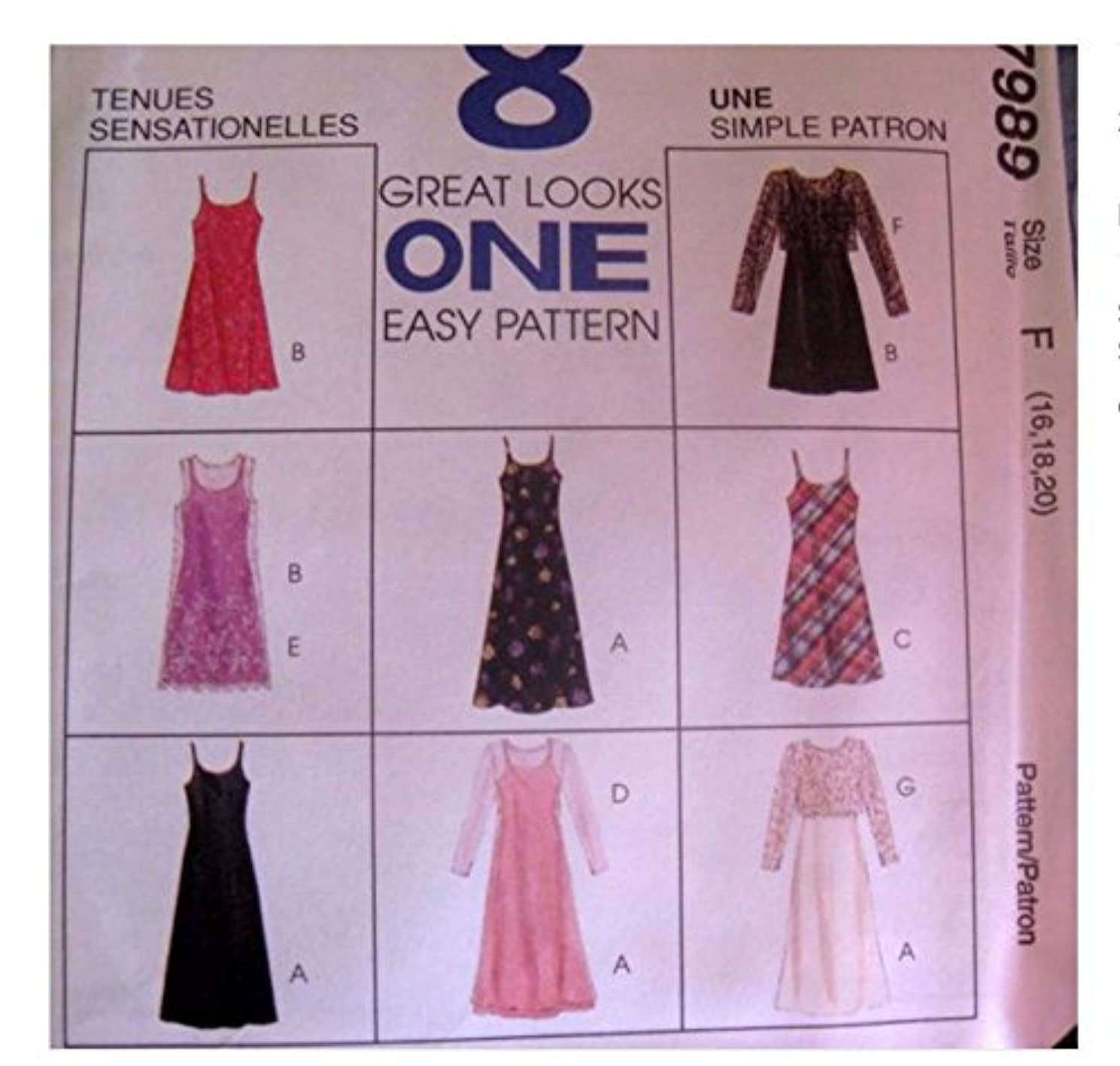 McCalls Sewing Pattern 7989 Misses 16,18,20 Spaghetti strap drerss 8/Variations