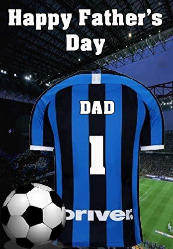 Pnc129 Inter Milan - Biglietto Di Auguri Per La Festa Del Papà, Formato A5, Personalizzabile
