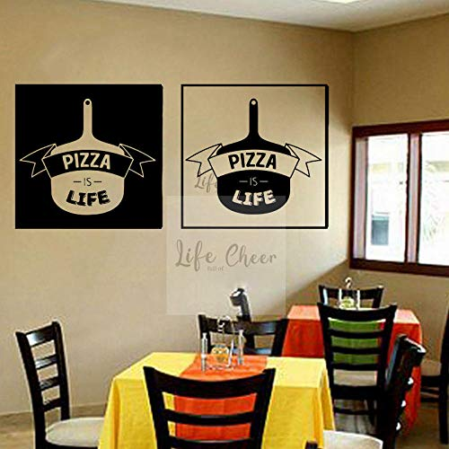 Muursticker Pizza Set Vinyl Muursticker Pizza Leven Quote Muur Schilderij Restaurant Interieur Pizza Pan Vinyl Wall Poster Muur Art 57X26CM