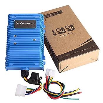 10L0L Golf Cart Voltage Reducer Voltage Converter 30 Amp  36v/48v to 12v  with Dual Power Source Fits for Club Car E-Z-GO 360 Watt