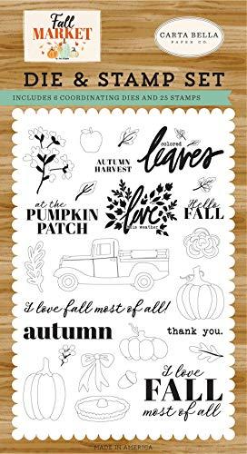 Carta Bella Paper Company Autumn Harvest Die & Stamp Set die, stamp, orange, red, teal, cream, brown, green