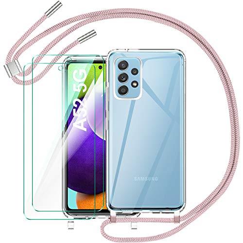AROYI Funda con Cuerda Compatible con Samsung Galaxy A52 5G y 2 Pack Cristal Templado, Carcasa Transparente de TPU con Correa Colgante Ajustable Case para Samsung Galaxy A52 5G (Oro Rosa)