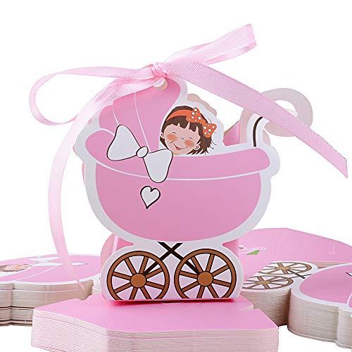 FLOFIA 48pz Scatole Battesimo Nascita Scatoline Portaconfetti in Carta a Forma di Passeggino Bomboniere Scatole Femmina per Confetti Caramelle Cioccolati Comunione Baby Shower Compleanno Rosa
