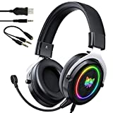 Gaming Headset for PS4, PS5, Xbox One, Nintendo Switch, Over-Ear Gaming Headphones for PC, Video Games, Laptop, Mac, Smart Phones with Noise Canceling Mic, Soft Earmuffs, Surround Sound, RGB Light