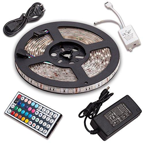 SENDIS Kit de Ruban à LED 5m / 60W, 300 LEDs multicolores 5050 RGB SMD Etanche + Adapteur + Alimentation + télécommande à infrarouge 44 touches, Décoration Intérieur et Extérieur, Noël, Mariage