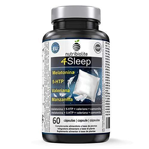4Sleep - Melatonina Pura + 5-HTP Griffonia Simplicifolia + Manzanilla + Valeriana - Efecto prolongado, Rápida conciliación y mejora del sueño, Reduce estrés, ansiedad e insomnio, Somnífero natural