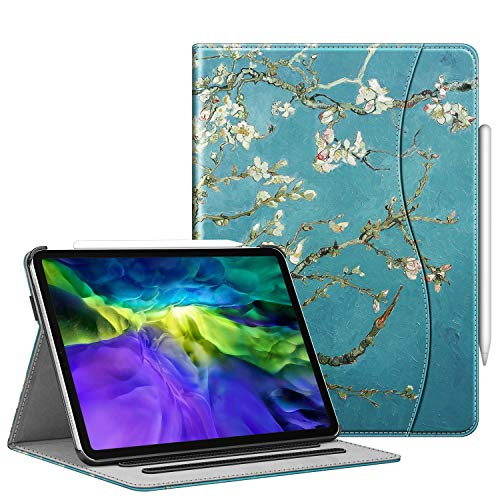 FINTIE Case for iPad Pro 11' 2020/2018 with Pencil Holder - Multi-Angle Viewing Folio Smart Stand Cover [Supports Apple Pencil 2nd Gen Charging Mode] with Pocket, Auto Sleep/Wake, Blossom
