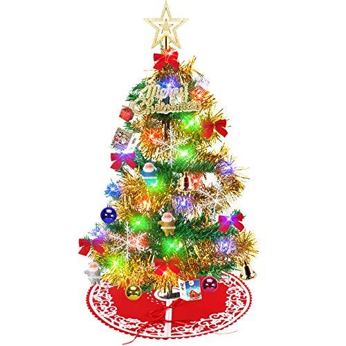 Yodeace Mini Árboles de Navidad 58cm Arbol de Navidad,con Falda Arbol Navidad y 33 pcs DIY Adornos Navidad,58cm Arbol de Navidad Fibra Optica