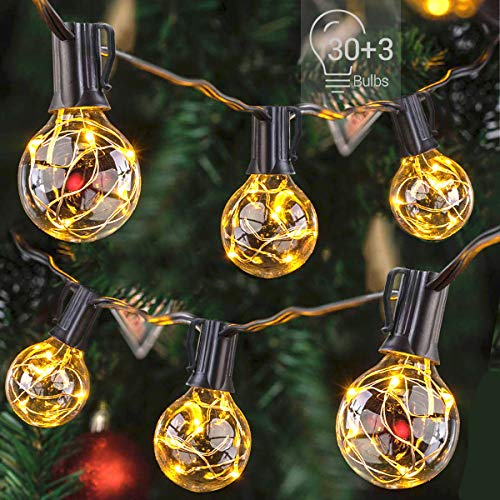 Afirst Outdoor LED String Lights 38 Ft with 30+3 Bulbs Christmas Lights Waterproof Vintage Hanging Lights for Patio Porch Backyard Party Wedding-Black Cord