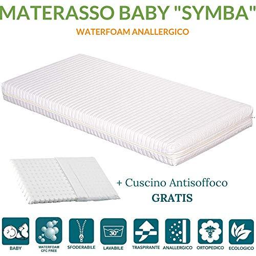 EVERGREENWEB ✅ Weiße Matratze für Kinderbett und Wiege 70x160, 12cm hoch + Kostenloses Kissen Anti-Ersticken mit natürlichem Baumwoll-, herausnehmbar- Kissenbezug. Allergiegetestet, auswaschbar. SYMBA