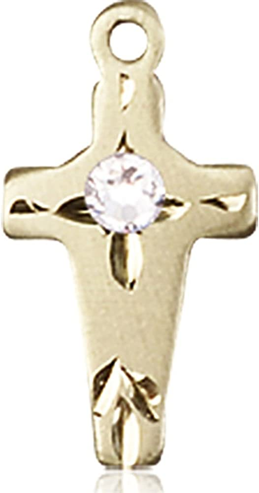 Bonyak Jewelry 14kt Yellow Gold Cross with April San Francisco Mall Swaro 3mm trust Medal