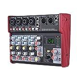Feixunfan Mesa de Mezclas Mezcla de Tarjeta de Sonido de 6 Canales Efectos incorporados de 16 años con la Interfaz de Audio USB Que admite 5V Power Bank para Streamers Podcasters