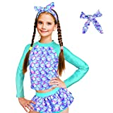 ZukoCert Girls Sunsuit Swimwear Sets Kids Long Sleeve 2 Piece Rash Guard Swimsuits 2-10 Years Surfing Swimsuits for Girls(LSYL_XXL)