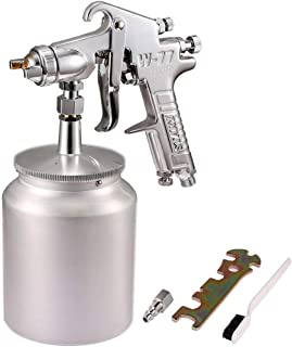 Valianto W77 Siphon Feed Spray Gun with 1000cc Cup, 3.0mm Nozzle Spray Gun, Silver Handle