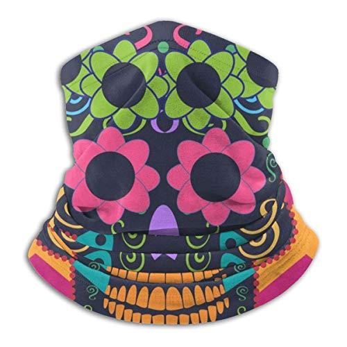 Lawenp Decoraciones faciales Icono de flores de calavera Color rosa Polaina de cuello Protector solar de verano Polaina de cuello Mascarilla facial ligera para actividades al aire libre