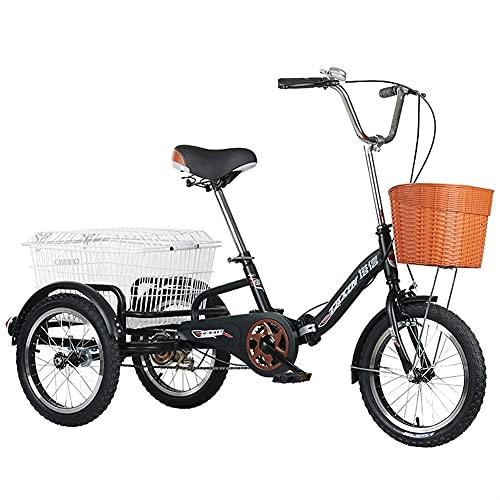 ZCXBHD Triciclos para adultos de 16 pulgadas de una sola velocidad de 3 ruedas para adultos triciclos con cesta de la compra para deportes al aire libre, recreación de compras (color negro)