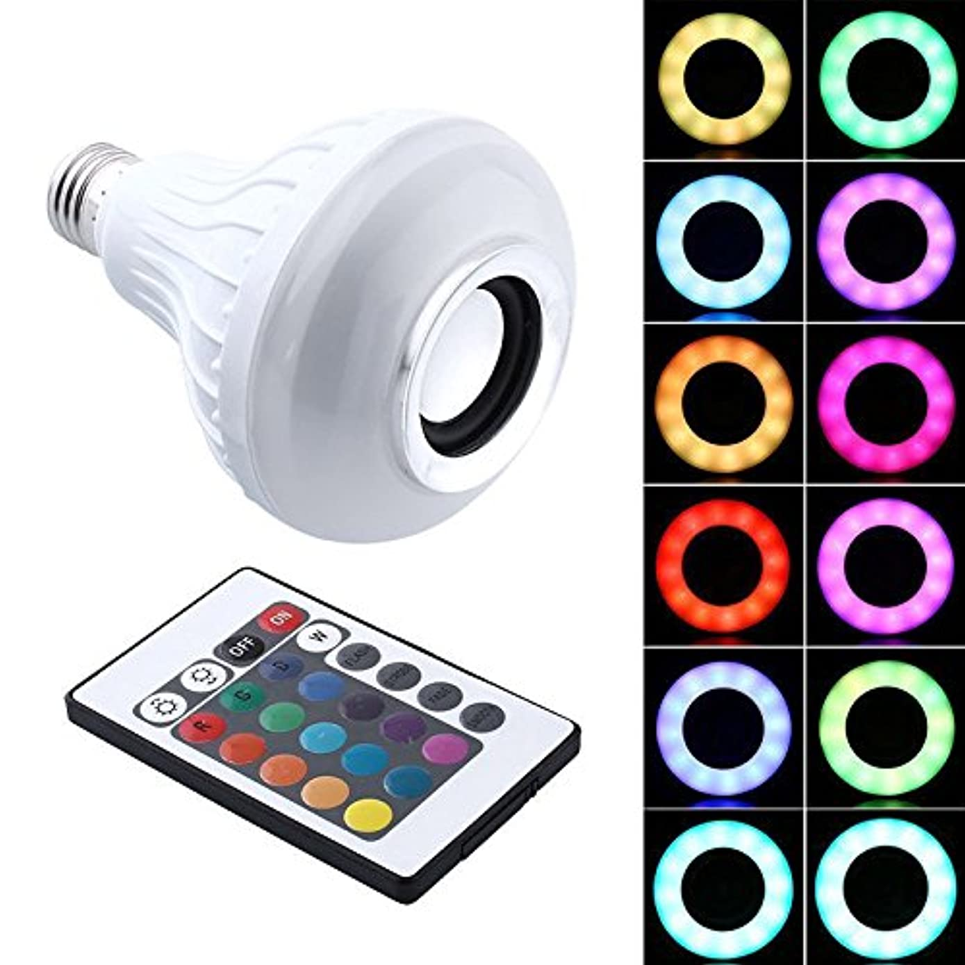birl019 Speaker Bulb Light 12W E27 LED RGB Wireless Bluetooth Speaker Bulb Light Music Playing Lamp+Remote Controller