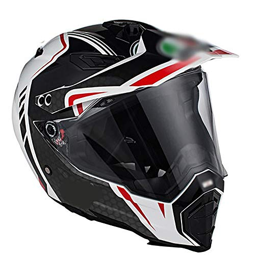BBJZQ Fibra De Carbono Casco De Motocross,Casco De Moto De Cara Completa...