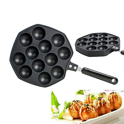 zorvo Cast Iron Griddle for Making Poffertjes Pancake Balls Takoyaki Pan Nonstick Cast Aluminum Alloy Baking Tray Takoyaki Maker, 12 Holes