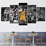 Adoff 5 Pannelli Wall Art Poster Soggiorno Camera da Letto Decorazione Domestica Pronto da Appendere Kobe Bryant Basketball Star 5 Pezzi Dipinti su Tela Stampe Quadri Moderni con Cornice