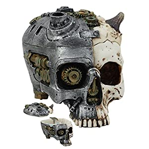 ATL Steampunk Demon Cyborg GEARWORK Painted Skull Jewelry Box Ashtray Sculpture