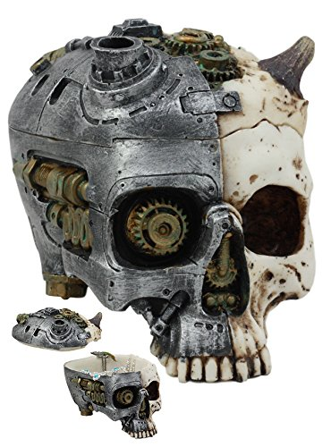 ATL Steampunk Demon Cyborg GEARWORK Painted Skull Jewelry Box Ashtray Sculpture 3