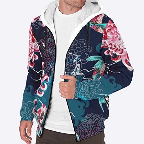 Zhcon Heren Lange Mouw Volledige Zip Up Azië Koi Chrysant Gedrukt Fleece Sherpa Hooded Sweater Herfst Winter Warm Hoodie Jas Pullover Plus Size