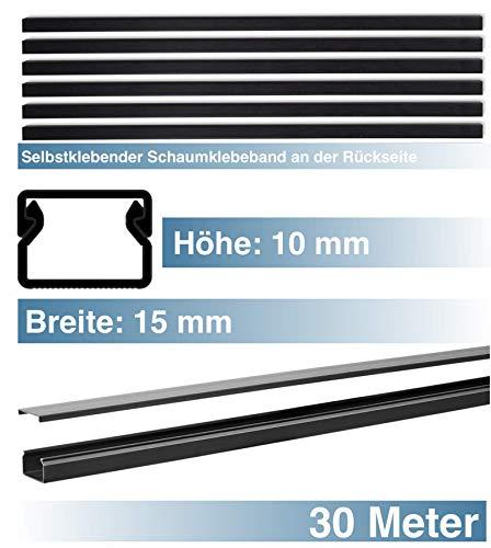 SCOS Smartcosat SCOSKK199 30 m Kabelkanal (L x B x H 2000 x 15 x 10 mm, PVC, Kabelleiste, Selbstklebend) graphit-schwarz