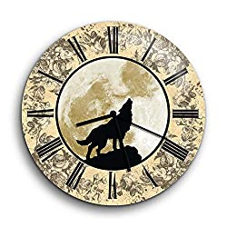 Wolf Clock - Wolf Howling Wall Clock Non-Ticking - Silent Wall Clock - Rustic Clock - Vintage Clock - 10 Decorative Frameless Clock Battery Operated - Contemporary Creative Wall Clock Round