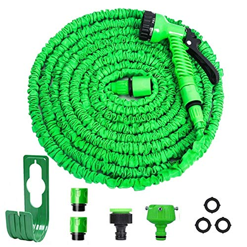 WEHOLY Outdoor Lamp Garden Hose 3 Times Expandable Water Pipe 100ft Flexible Magic Hose Pipes Reel with 7 Function/Brass Connector Fittings/Hose Hanger/Storage Bag