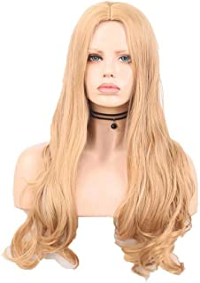 RDY blonde Wigs Long Natural Wave Synthetic Wig for Women NO Lace Front Machine Made Wigs with Middle Parting 150% Density...