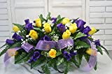 S1280 Yellow and Purple Valentine Cemetery Flower Arrangement, Headstone Saddle, Grave, Tombstone Arrangement, Cemetery Flowers
