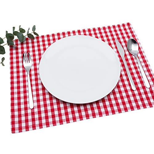 FILU Tischset 4 Stück Rot/Weiß kariert (Farbe und Design wählbar) 33 x 45 cm - hochwertig gefertigte Platzsets aus 100{c3d25835c39efb2928f5dd0dc497ded40dd3c45b9302cc8cbd02ab87543f5e93} Baumwolle im skandinavischen Landhaus-Stil