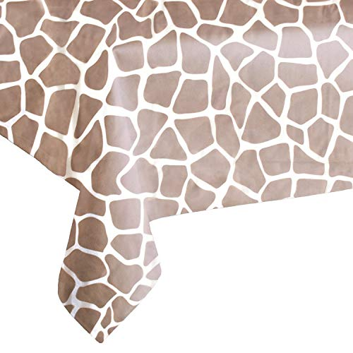 "OUGOLD 4 Pack Giraffe Disposable Party Tablecloth Safari Birthdays Party Supplies Plastic Table Covers Animal Themed Decorations Giraffe Print 54"" x 108"""