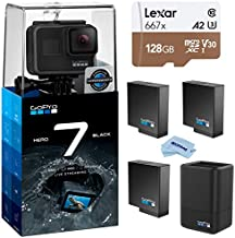 GoPro HERO7 Black - Waterproof Digital Action Camera with Touch Screen 4K HD Video 12MP Photos Live Streaming, Bundle with Dual Charger, 2 Extra Batteries + 128GB microSD Card + Cleaning Cloth