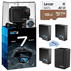 KIT INCLUDES: GoPro HERO7 Black Camera (CHDHX-701) | Rechargeable Battery | Mounting Frame | Curved Adhesive Mount | Flat Adhesive Mount | Mounting Buckle | USB-C Cable | Thumb Screw| GoPro Dual Battery Charger with Battery (AADBD-001) | GoPro Rechar...