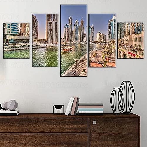 QWASD Cuadro Lienzo Pintura 5 Piezas Pared Pintura Impresión Arte para Hogar Salón Oficina Mordern Decoración Regalo Wall Art Poster Mural Barco Canal Dubai Marina