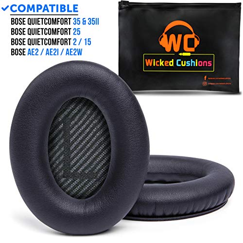 Premium Bose QC35 Headphones Replacement Ear Pads Made by Wicked Cushions - Memory Foam Adapts to Your Ears - Fits QuietComfort 35 & 35ii and SoundTrue & SoundLink 1&2 Around-Ear Headphones   Black