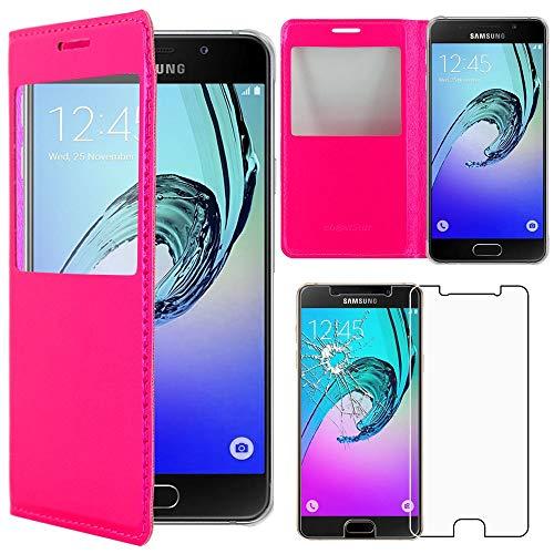 """ebestStar - Funda Compatible con Samsung A3 2016 Galaxy SM-A310F Carcasa Ventana Vista Cover Cuero PU, Funda Billetera, Rosa +Cristal Templado [NB:Leer descripción] [Aparato:134.5x65.2x7.3mm 4.7""""]"""