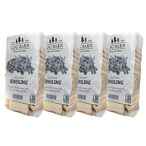 Kindling Wood x 4 Bags - Kiln Dried - About 12kg. Perfect for Starting Open Fires, Charcoal, Wood Burning Stoves, BBQ's, Log Burners, Camp Fires, Fire Pits and Pizza Ovens, Comes in a Cardboard Box