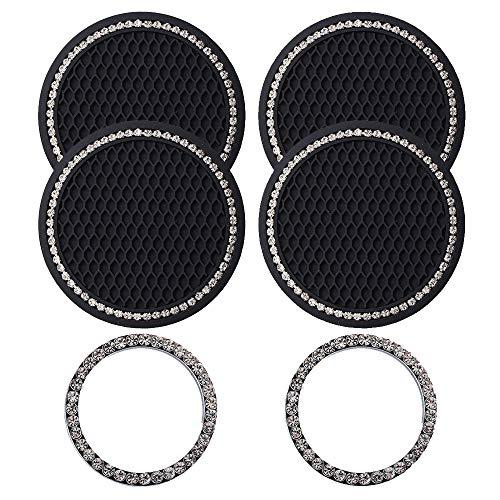 Lipctine 6 Pieces Bling Decor Car Cup Holder Coaster Insert Cup Mat, Car Bling Ring Emblem Sticker...