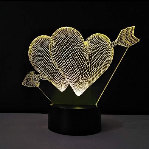 Jour De La Saint-Valentin Coeur Veilleuse Acrylique Lampe De Table Led Bulb Chambre Lampen Chevet Lampe Enfant Éclairage Love Hearts Lamba