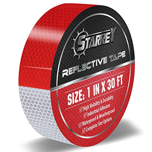 Starrey Reflective Tape Red White 1 IN X 30 FT Waterproof Self Adhesive Trailer Safety Caution Reflector Conspicuity Tape for Trucks Cars