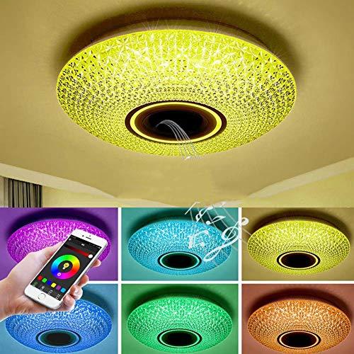 WFL-belysning LED-taklampa med Bluetooth-högtalare, färgskiftande infälld montering musik taklamparmatur, 36 W, 85-265 V, RGB dimbara infällda lampor för familjefest stjärnlampor WFL Profe