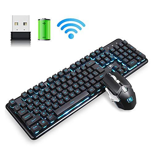 Combinazione tastiera e mouse wireless ricaricabili 2,4 G, batteria al litio da 4800 mAh, batteria a lunga durata, tastiera retroilluminata + mouse ricaricabile 2400 DPI + tappetino per mouse